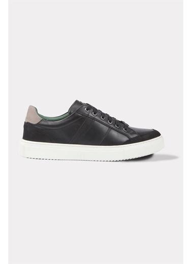 Krähe Zax Siyah Deri Minimal Sneaker Siyah